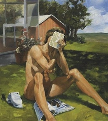 "Eric Fischl, Vanity, 1984 ""Painted in 1984, Vanity was conceived partly as an in-joke between Fischl and the New York Times art critic, Peter Schjeldahl. It depicts a woman sitting naked in a garden, engrossed in the act of applying her make-up. Between the spread of her legs is an edition of Vanity Fair magazine from May 1984, open at a feature article about Fischl, written by Schjeldahl himself. A photograph of Fischl (taken by the famed photographer Arnold Newman) is positioned to suggest a phallus, or a miniature, fully developed human in the act of being born. The diminutive male figure also has parallels with the image of a small boy that Fischl includes in many of his most celebrated paintings, such as Bad Boy, 1981, caught in the act of stealing a glimpse of the naked women that fill his growing sexual imagination. The gigantic nature of the woman, in relation the male protagonist, is indicative of Fischl's belief in the power and mystery of female sexuality."""