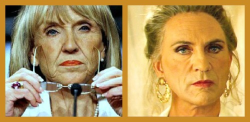 Someone left the cake out in the rain.Gay-fearing Arizona governor Jan Brewer, not in drag.Terence Stamp in drag, The Adventures of Priscilla, Queen of the Desert.