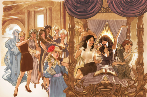 AH! Fairest #1 Wraparound Cover Back cover (left): The Snow Queen, Cinderella, Princess Alder, Beauty, Ali Baba, Miss Leigh Douglas (Nurse Spratt), Bo Peep, Ozma Front cover (right): Rapunzel, Snow White, Briar Rose, Rose Red and Thumbelina