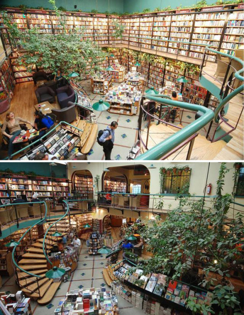 esotericsnob:  yobukotori:  Cafebreria El Péndulo, Mexico City [x]  *sigh* One of my favorite places and one of the most beautiful book stores that I've ever been in…and believe me, I've been in quite a few (my favorite though, is in Buenos Aires). No matter where in the world I'm hopping around in, I always end up at bookstores, libraries, and of course museums.