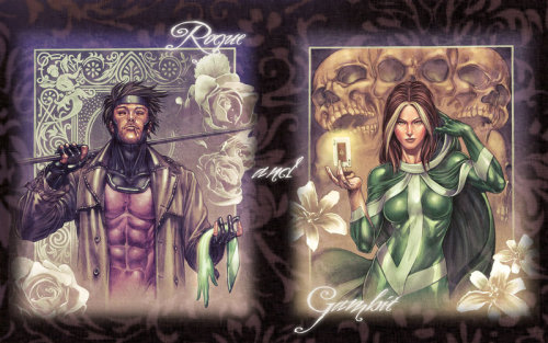 It's Comic Book Sunday! I've always been a Gambit/Rogue fan but what drew me to this piece by Karen from Canada is the simple switch of props: he has her glove, she has his playing card (and by extension, his ability). Simple details that betray a deep trust.