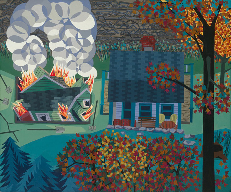 "Anne Toebbe, ""Burning Down the Second House,"" 2008, acrylic gouache on panel,20 x 24 inches"