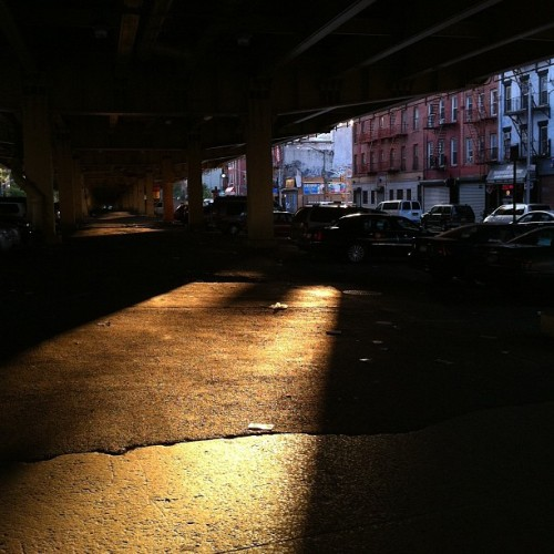 nathanosterhaus:  Under the BQE (Taken with Instagram)  Really nice lines in this; also the mixture of the warm and cool tones.