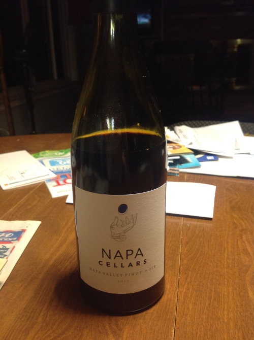 Napa Cellars 2010 Napa Valley Pinot Noir: Aromas of cherries, rose petals and a hint of earth. Very tart on the palate at first, like Grandma's cherry pie, then softens to a mélange of ripe dark fruits with nicely balanced acidity. Serve a little cooler than room temperature for optimal flavor balance. Yay!