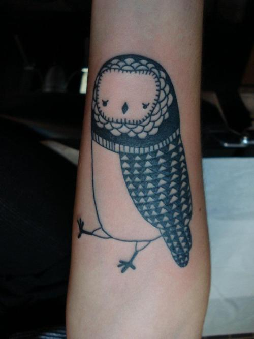 fuckyeahtattoos:  This is my owl, Milo, done in October 2011 by Mathieu Samson at Adrenaline Tattoos and Body Piercings in Montreal. I had a wonderful experience there and, as it was my first tattoo, Mathieu made me feel like I was in very, very good hands - and I certainly was.  I got this tattoo because I found a drawing (done by Beatrice) that just seemed completely perfect and wonderful; it really just felt incredibly right. I couldn't imagine a better first tattoo, both image- and experience-wise. I'll definitely be getting something else inked at Adrenaline next time I'm in Montreal!