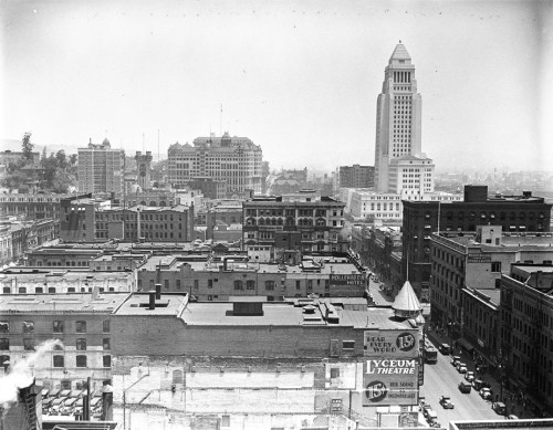 "Downtown Los Angeles in 1930. 72 years later, the ""Lyceum Theatre"" sign on the building in the foreground is still visible today."