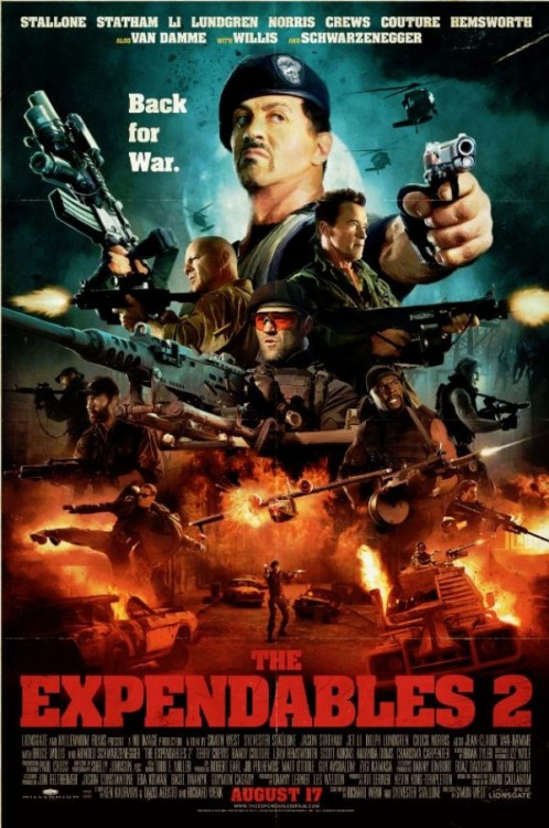 "Enjoy this new retro-themed poster for ""The Expendables 2,"" straight out of Comic Con 2012: http://www.cityonfire.com/expendables-2-date-confirmed/"