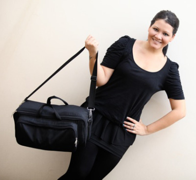 Melanie Subono (Indonesian artist) with her Pedalgazer Grab-n-Go bag.