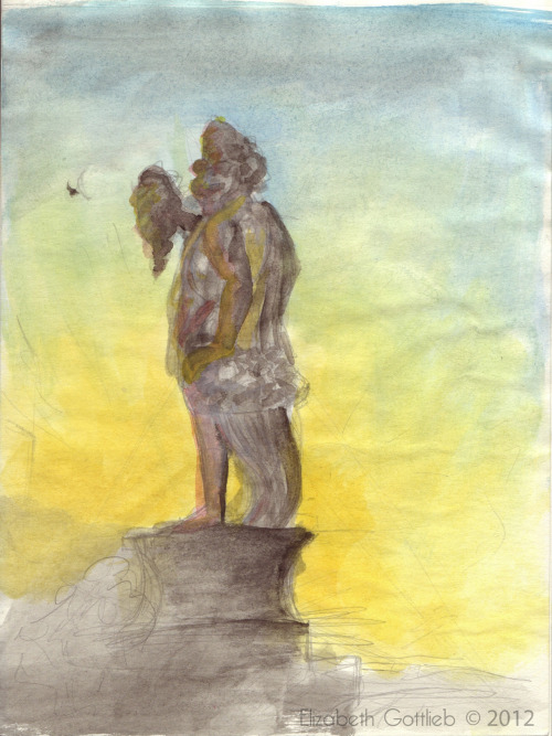 Watercolor I did for my brother in Italy. This was a statue on one of the bridges near my apartment that I stayed in.