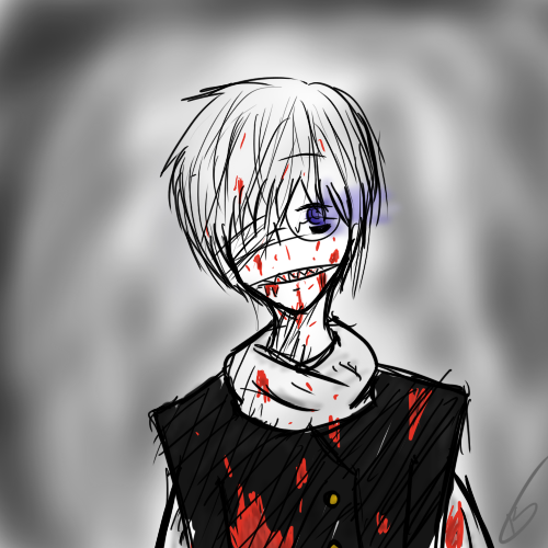 orlyartblog:  Ao oni Hiroshi…Oh goodness, I don't know is going on anymore…OTLI don't know what I am drawing…UHUHU  GOODNESS *headbutts table*
