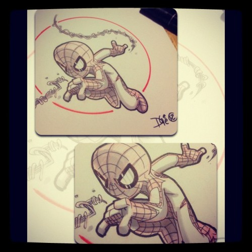 SDCC con sketches 4 sale! I will be @udoncrew booth thurs-sun 11-2&4-7 #spiderman #marvel #comics #mvc #sketch #commission #traditional #prismacolor #marker  (Taken with Instagram)