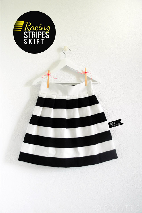Racing Stripes Skirt | Funkytime Can you believe that this skirt is made fro IKEA fabric?! I actually have this print in my sewing drawer but never knew what to make with it. I would say this project is a intermediate sewing project as it includes pleating, adding the waist band and sewing in a zipper, but never let that stop you! Practice on scrap fabric first before you use your good fabric (though IKEA fabric is so cheap you could use it anyway!)