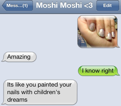 I love the way my boyfriend describes my nail polish. OPI needs to hire him to name their colors.