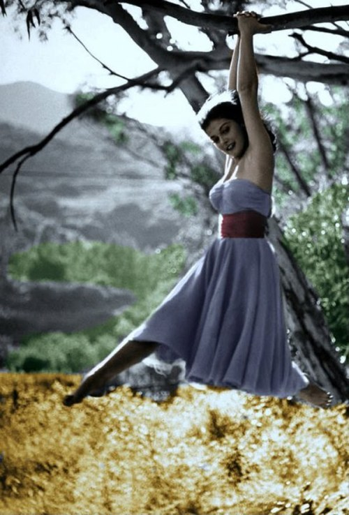 drunkcle:  Pier Angeli in 1954. I took this picture during the difficult time in which James Dean and I were both competing for her affections, but despite her inner emotional turmoil you can only see pure joy here.