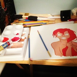 This is what I do at 3am. 🎨 #firstacrylicpainting #ariel (Taken with Instagram)