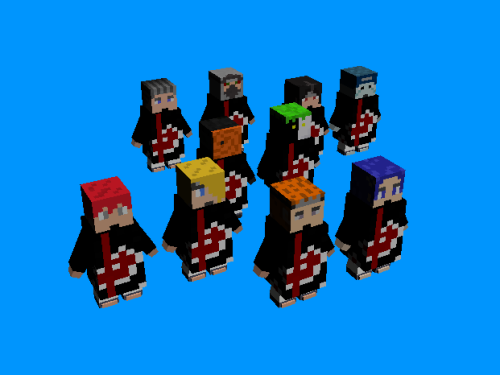 The Akatsuki gang, lovingly converted from Minecraft models to 3DS Max models by AlexFili. Original Akatsuki made by Kishimoto.