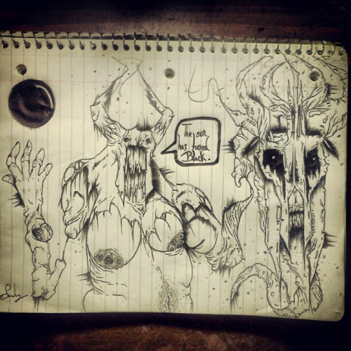 the #sun has turned #back #art #pen #dark #demon #devil #horns #scary #monster #evil #death #creepy  (Taken with Instagram)