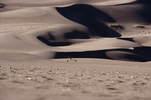 Great Sand Dunes by Matteo Berte Walking on the dunes looking towards I could appreciate how small we are compared to the dunes. The dunes seems neverending while you walk.