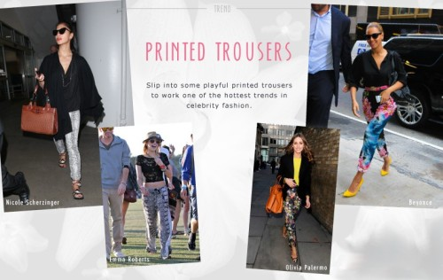 Make like the A-list and don a pair of fun and fabulous printed trousers this Summer. This look is all about attitude and confidence, so wear them with pride, and if you're feeling really brave team your printed trousers with a clashing printed top. Try polka dots and florals or, our personal favourite, animal print and stripes! Will you be rocking the printed trouser trend this Summer? If it's good enough for Beyonce, we think we can get on board! Click here to pick your printed trousers from Style369.com - http://bit.ly/NdEnEd