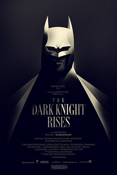 Here's my officially-licensed poster for The Dark Knight Rises. It's a 16x24 screen print on cream stock, and it will go on sale for 24 hours at 12:01am CT Wednesday the 18th of July for $40 from www.mondotees.com . It's a timed edition, so anybody who orders within those 24 hours is guaranteed a print. There's also a Variant that's a little larger (24x36) and limited to an edition of 180. It'll be available at San Diego Comic Con booth 437. I had a lot of fun making this one. Believe it or not, this was pretty much finished back in February and I've had to keep it secret for months. It's good to finally get it out. I hope you guys dig it.