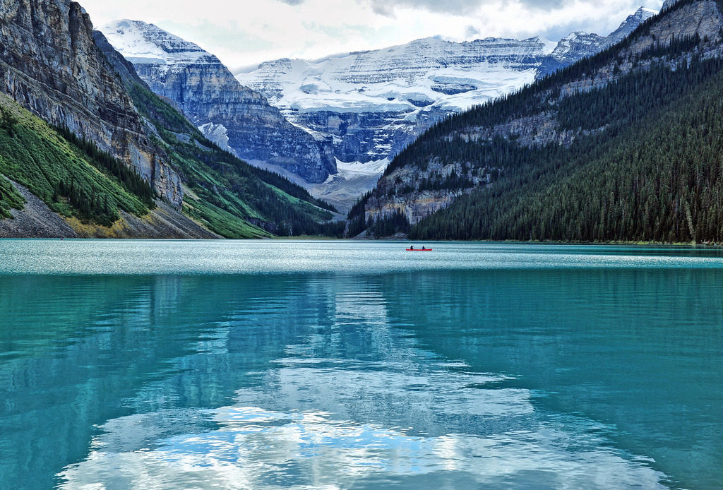 A Canoe Ride at Dusk at Lake Louise (by Jeff Clow)