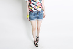 LABER striped floral print cropped t-shirts,POLETTE high waisted denim shorts,SUKHAM leather lace up gladiator sandal  www.artfitshop.com