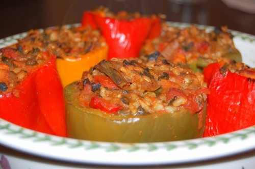 letthemeatvegancake:  Vegetable and Brown Rice Stuffed Peppers Recipe Here