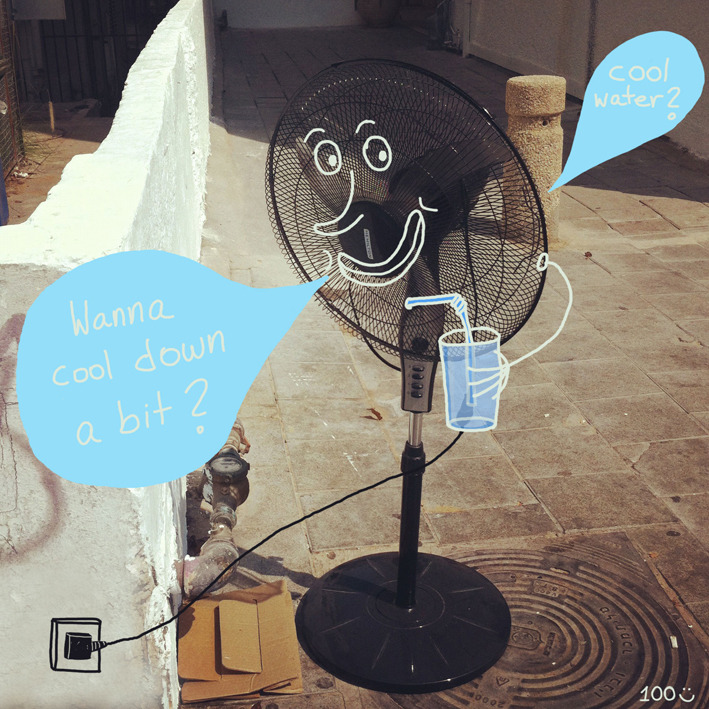 It is really HOT today and this fan, standing in the middle of the street, made me think… Wouldn't it be great if there were cooling stations every few blocks.  (This is my 100post  YAY!)