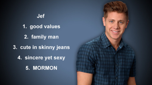 jef — he's my pick. there, i said it. this is probably one of the first times in all my years watching the show that i actually liked all three remaining contestants equally. then came the 3 romantical dates in curacao and it was apparent: arie is all about him and emily's relationship, and is the only one of the three who really hasn't said much about ricki fitting into their life or being a father to her. his relationship with emily seems to be total physical infatuation. i really think if they'd just fuck and get it outta their system they'd be over each other. all they do is suck face when they're together, their convo over dinner was the most i've heard either of them talk in one sitting. and the fact that she couldn't even mention the fantasy suite? red flag!! i was so upset she chose him over sean. it was obvious she was thinking with her other brain last night. shame on her! team jef, all the way … unless sean comes back. but then, i just don't know. i like the both of them so much!