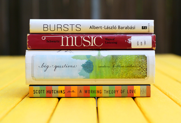 explore-blog:  A working theory of love, in a book spine poem.