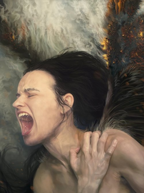 mydarkenedeyes:  Fallen by Christin Zakhozhay See the progress shots of this amazing piece here  Dang this pic has so mich feelin and emotions i so fucks with this pic yall.