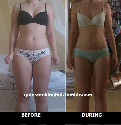 beforeandafterweightlosspics:  goinsmokinghot: About 4-5 weeks hard work at the gym. Cardio and lifting weights.Started at 64 kg and I'm now at 62-63 kg (I'm 166cm). Not much difference in kgs but I see a small difference in this photos though. Check my blog for my other progress pictures!