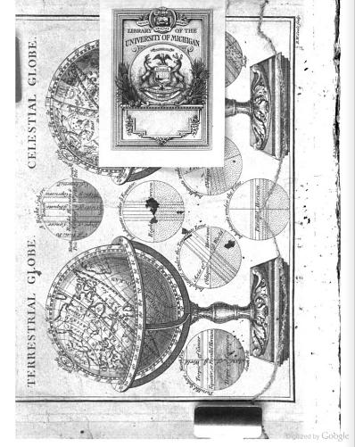 Bookplate placed over illustration.  From the front matter of Astronomia Accurata: or, The Royal Astronomer and Navigator by Robert Heath (1760). Original from the University of Michigan. Digitized October 25, 2007.