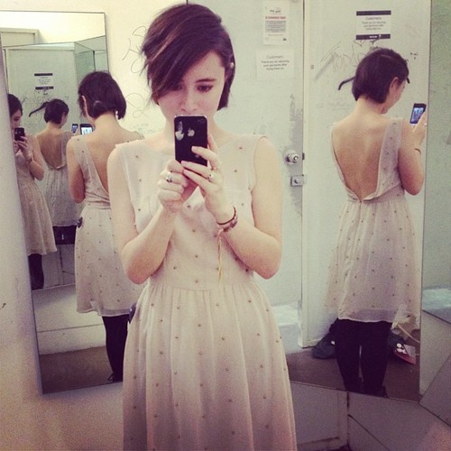 I like my back in this photo. (sadly didn't buy this dress cause my boobs were too small and it was baggy up top)