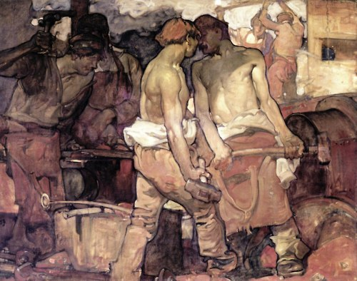 Frank Brangwyn (1967-1956). The Blacksmiths, 1905. Oil on canvas.
