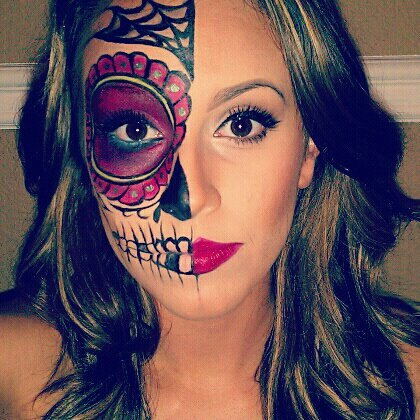 This is my first attempt at sugar skull/dia de los muertos style makeup inspired by Sylvia Ji.  I used this photo for reference: http://www.arborcollective.com/wp-content/uploads/2009/06/sylvia_ji.jpg, but obviously took a lot of liberties with the design.  Follow me at femmedroid5000.tumblr.com!