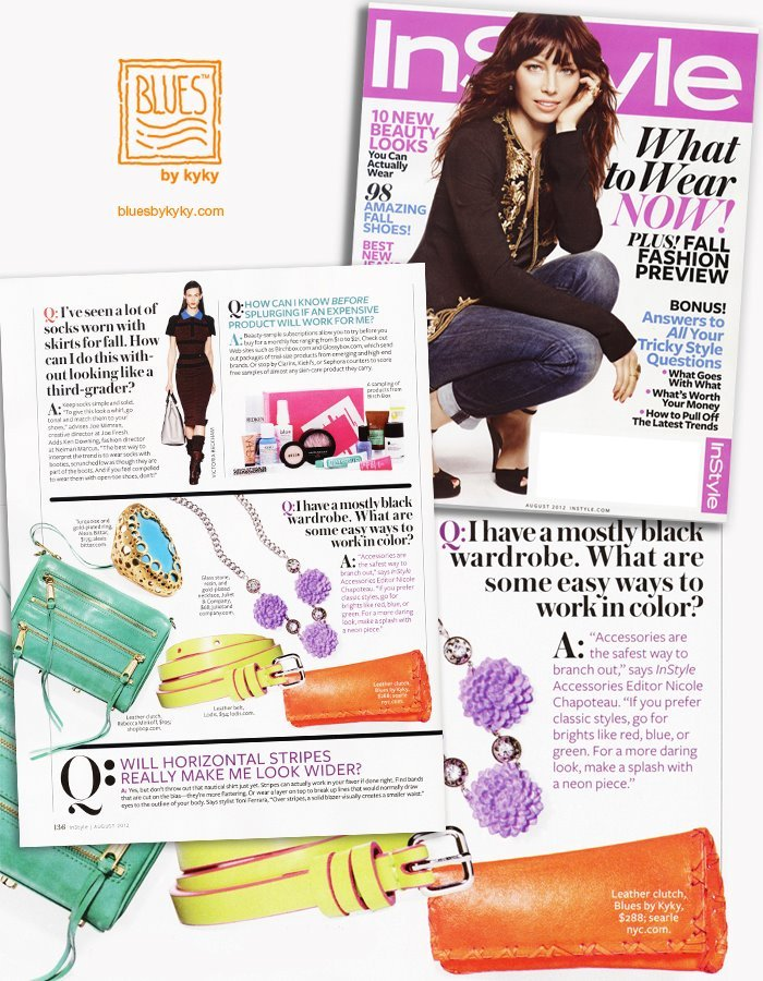 BLUES by kyky's Mambo Neon Clutch featured in InStyle magazine!