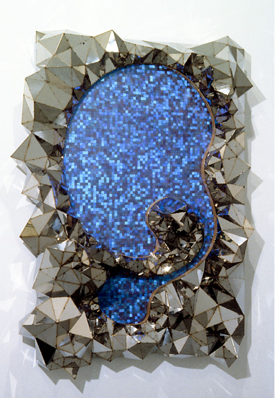 paddle8:  David Nyzio, Untitled, 1999, morpho aega butterfly wings, steel, plexi, and wood, 88 x 64 x 18 inches, courtesy of Postmasters.
