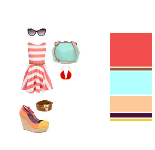 Summer. Popsicles. Fresh fruit. Iced coffee. ♥ Striped dress, Miso♥ Wedges, MyMu♥ Bag, Ally Capellino♥ Bracelet, Michael Kors♥ Earrings, American Apparel♥ Sunglasses, Tom Ford