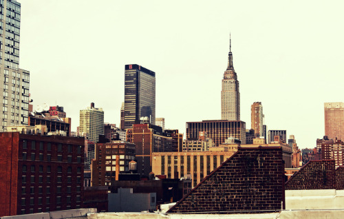 "The New York City skyline and the Empire State Building viewed from Chelsea, New York City.  The Empire State Building always seems to stand out when viewing certain cross-sections of the New York City skyline. I have always imagined it to be an urban lighthouse helping all urban wanderers navigate through the dense sea of buildings that surround its distinctive shape.  This vantage point is from a rooftop located as far west as you can possibly go in Chelsea before landing in the Hudson River.   —-  View this photo larger and on black on my Google Plus page  —-  Buy ""The Empire State Building and New York City Rooftops"" Prints here, email me, or ask for help."