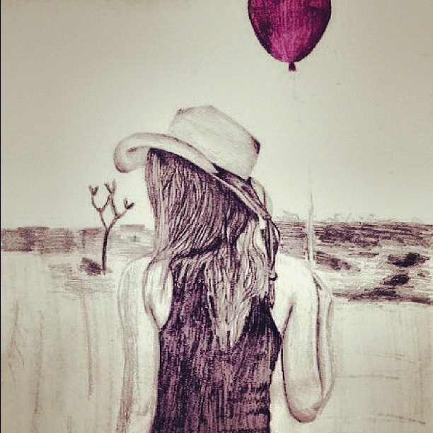 #art #drawing #pencil #balloon #girl #woman #body  (Taken with Instagram)