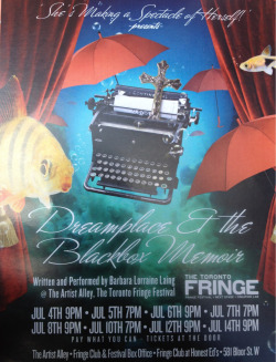 "Check out ""Dreamplace & The Blackbox Memoir"" tonight at The Artist Alley @ 7pm. An Awesome 45min monologue by Barbara Lorraine Laing. And it's FREE!! Also on July 12th 9pm and July 14th 9pm"