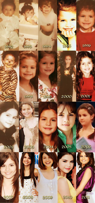 musictomyheartthatswhatyouare:  Selena Gomez through the years. Look how much she has changed! :')) <3