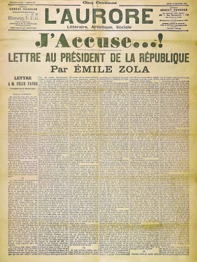 "theparisreview:  If you've never seen Émile Zola's legendary ""J'Accuse!"" editorial, the Los Angeles Review of Books  has helpfully shared it."