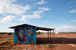 "Overunder in the Painted Desert  #streetart #desertart #murals #navajohttp://www.brooklynstreetart.com/theblog/2012/07/10/the-painted-desert-part-ii/""The sheltering sky is huge in Navajo country, and city slicker Street Artists have room to expand their minds and their imaginations when they get out to see the landscape dotted by occasional man-made structures. Jetsonorama and Yote invited a handful of them to come out and meet some local artists and the folks who live here….""Collabo with Gaia and Labrona (photo © Jetsonorama)"
