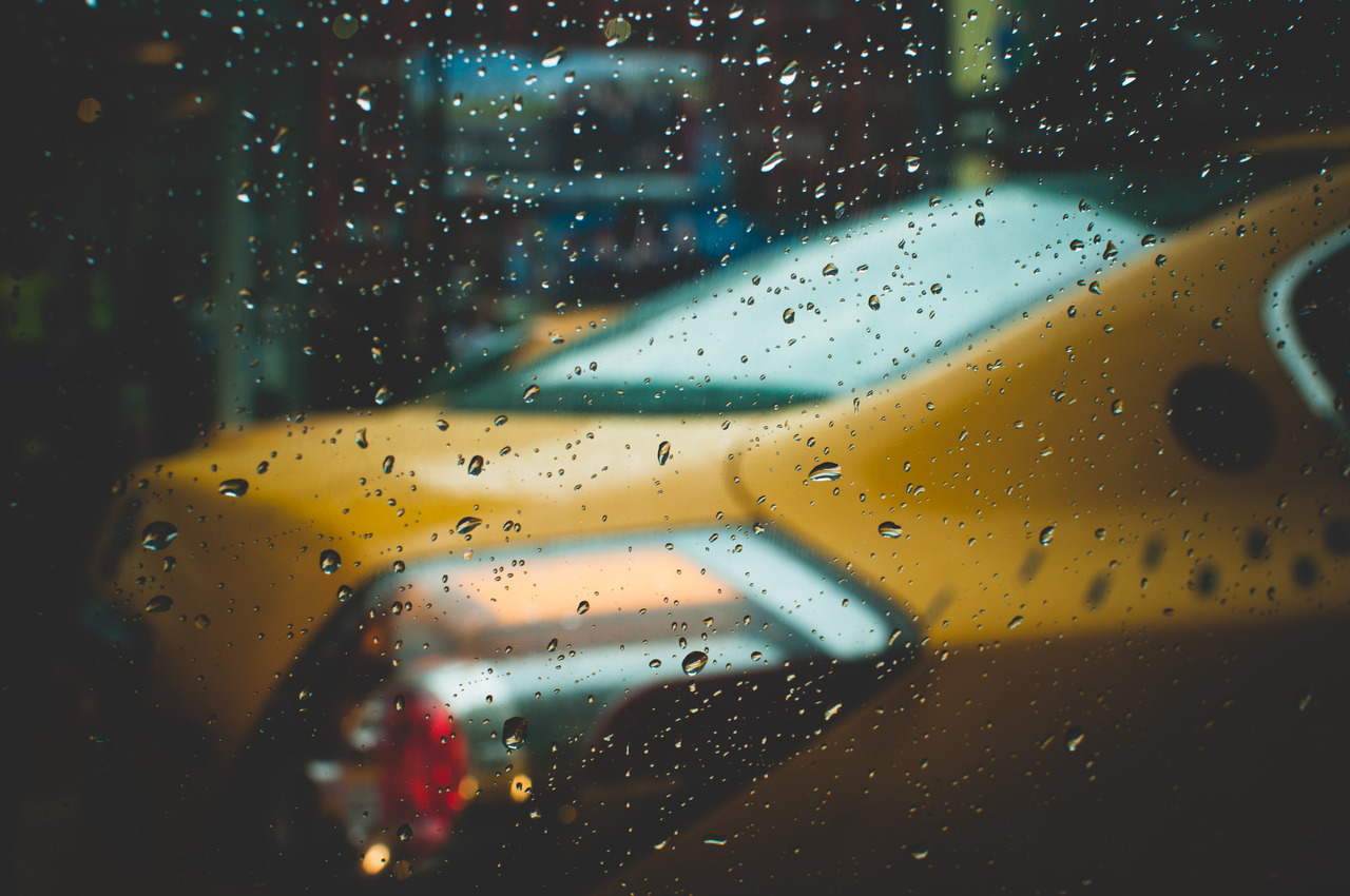 Taxi in the Rain, New York, New York