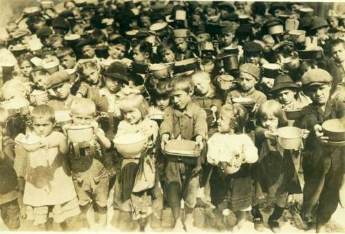 American Relief Administration Food Distribution, Poland. Circa 1919 On July 12, 1919, Herbert Hoover founded the American Relief Administration which fed 350 million people in 21 countries in the aftermath of the Wold War I. -from the Hoover Library