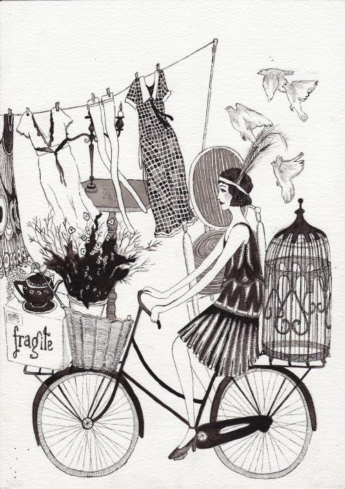 eatsleepdraw:  Let's all live on our bikes. http://rosannatasker.tumblr.com/