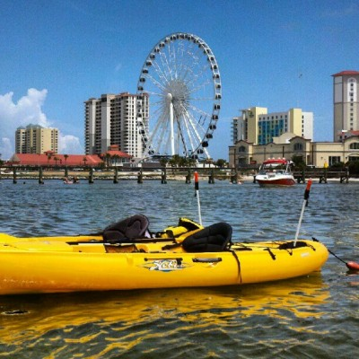 #kayaking in #pensacola.   #kayak #ferriswheel  (Taken with Instagram)