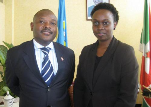 Met the Burundi President (Pierre Nkurunziza) while on assignment in Burundi. Very humble man. Loving my nappy hair too :)